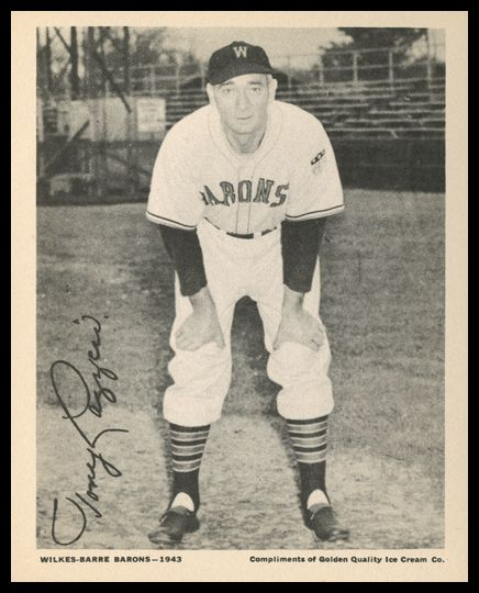 1943 Golden Quality Ice Cream Wilkes Barre Barons Lazzeri